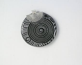Round MEDALLION 11 polymer clay and silver plated bail PENDANT