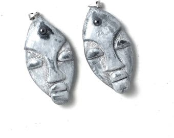 """Pendants set of two masks""""African""""polymer clay. Pieces for jewelry making. Ethnic masks"""