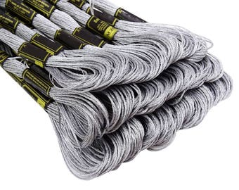 25 Anchor Metallic Silver # M 201 Cross Stitch Cotton Embroidery Thread Floss/Skein