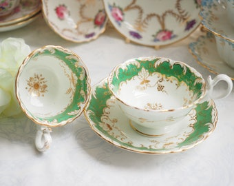 Antique Unmarked teacup and coffee cup and saucer, trio 3pcs set Coalport