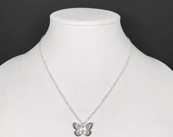 Butterfly Pendant Necklace with Sterling Silver Figaro Chain