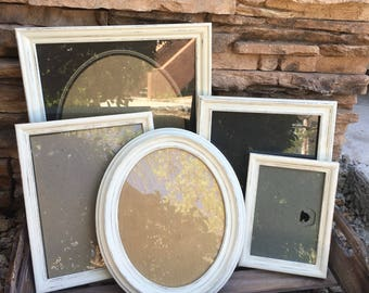 Wood picture frame set, shabby chic picture frames, vintage picture frames, white distressed picture frame set