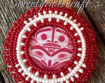 Salish Haida Deep Red Native American Beaded Keychain w coin carrier - quarter keeper