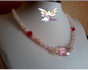 Necklace, rose quartz and Crystal swarovski heart to say I love you