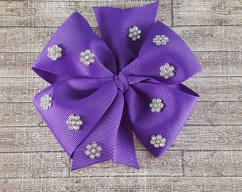 Purple pinwheel hairbow, jeweled hairbow, bling hairbow, big hairbows, bows for babies, newborn headband, toddler hairbows, back to school