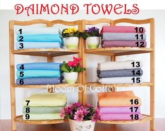 Diamond Pattern Turkish Hand Towel,Turkish Tea Towel,Kitchen Towel,Peshkir,Small size Turkish Towel,Dish towel,face towel,turkish hand towel