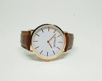 Simple Watch Genuine Brown Leather Watch Men's Watch For Him Women's Watch Classy Rose Gold Wristwatch Gift Quartz Husband Gift Groomsman