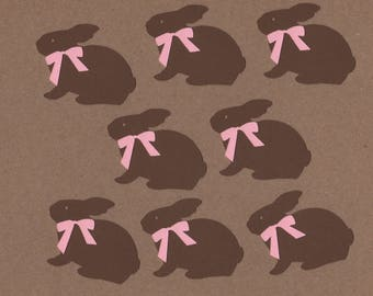 """8 - 1.5"""" tall Chocolate Bunny  Die Cut Embellishments  Decorations Set 7033"""