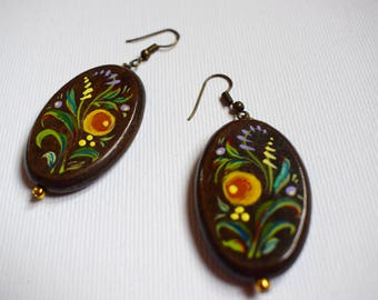 Brown Earrings with flowers Wooden painted earrings Brown wooden earrings Folk art jewelry Petrikivsky folk earrings Petrikivsky art jewelry
