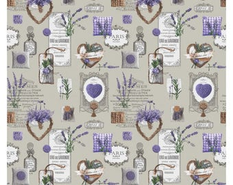 Fabric heart beige Lavender - plant - aromatic - fragrance - provence - paris - sold in multiples of 50 cm x 160 cm - 100% cotton oeko tex