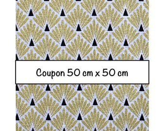 Coupon fat quarter 50 cm x 50 cm, fabric scales metallic gold, art deco