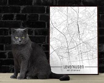 Leverkusen-Just a map-din A4/A3-Print