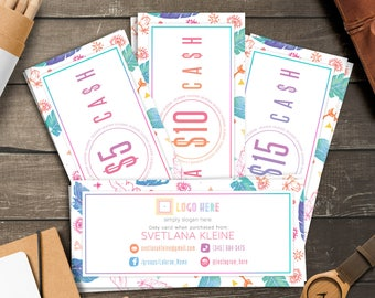 Boho LulaCash Cards, Free Personalized, Home Office Approved (Colors&Fonts), Lula Cash Cards, LLR Gift Cards, Moolah Cards