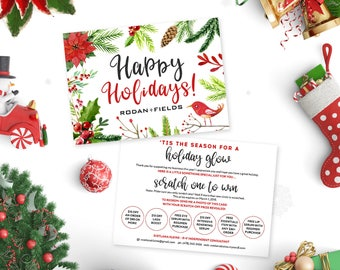 Rodan and Fields Happy Holidays Cards, Rodan + Fields Christmas Scratch Off Cards, RF Christmas Card, Personalized