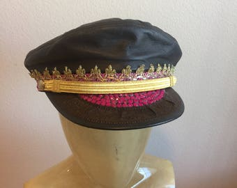 Vintage fisherman hat upcycled with pink gems and trim