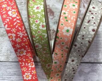 Floral Ribbon, Cotton Ribbon, Vintage Style Ribbon, Shabby Chic Ribbon, Flower Ribbon, Hair Ribbons, Sewing Supplies, Haberdashery.