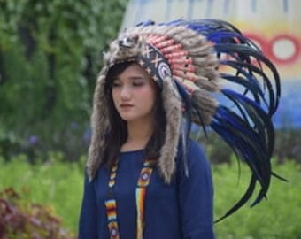 New Native Indian Headdress Hat Warbonnet from Real Feathers_b15