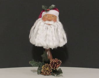 OOAK Art Bust, Santa Clause Bust, Handmade Art, by Susan Massey