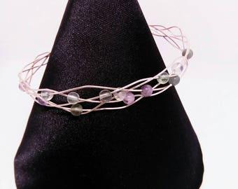 Fluorite Gemstone Bracelet, wire weaved bracelet, fluorite bangle, rose gold plated