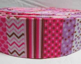 """Grosgrain ribbon 7/8"""" pink and purple stripes, checks, zigzag sold by the yard"""