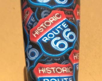 20oz. Tumbler dipped in the route 66 then clear coated. (This is not a wrap) Please see my shop for other items.
