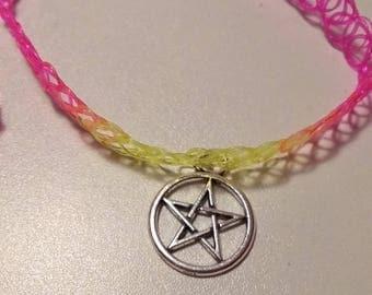90s Rainbow Neon Pentagram Tattoo Choker Star Occult Hanger Charm Emo Scene Rave