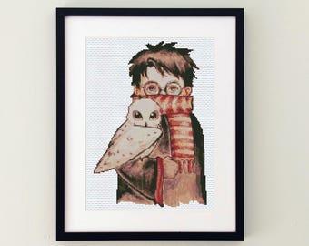 Owl Harry Potter cross stitch pattern hogwarts embroidery design, harry potter tapestry modern needlepoint chart pdf, diy harry potter print