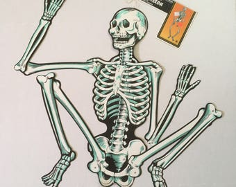 skeleton vintage halloween decoration jointed paper die cut paper cardboard articulated large skeleton skull