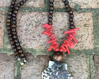 Brown and White Sea shell with red coral accents