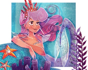 PAPER CUT PRINT Mermaid Princess