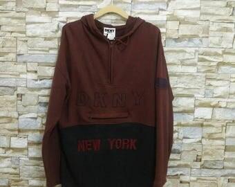 Vintage 90's DKNY Sweatshirt Hooded Sweater Donna Karen New York Big Logo Embroidered DKNY Jeans Sport Rare Hip Hop Rap Swag Style Medium