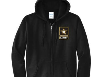 Army Symbol Zip Up Hoodie w/Name
