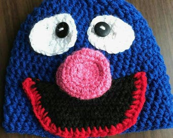 Crochet Hat- Grover Hat- Sesame Street- Kids Hat- Clothes for Kids- Winter Hat- Crochet Beanie- Christmas Gifts- Knit Hat- Kids Knit Hat