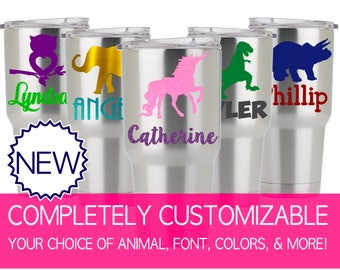 Kids Yeti Decal Cute Kids Cup Decal for Kids, Tumbler Decal Kids, Tumbler Decal Only, Tumbler Decals Personalized Animal Decal Sticker 5KD1Y