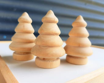 Set Of 3 Unfinished Wooden Tree Blanks, Christmas Tree, Pine Tree, Raw, Unfinished, Craft Trees