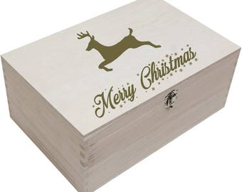 Personalised Wooden Christmas Box For Xmas Children, Kids, Party, Gift, Present, Keepsake