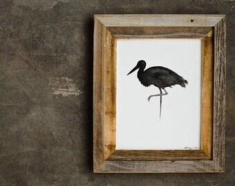 The Stork: Original monochromatic Ink Silhouette