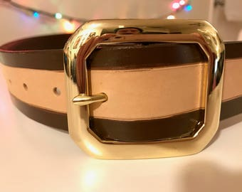 "1&1/2"" Classy Two Tone Brown Belt w/ Brass Buckle"
