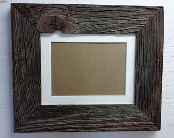 authentic barn wood frame 8 x 10 inch with white matting to 5 x 7 inch - Etsy Picture Frames