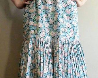 20% OFF! Mint Condition 70's Pastel Floral Young Edwardian Cotton Maxi Mod Prairie Dress, Peach, Blue, and Green Floral Edwardian Maxi Dress