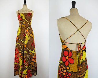 Vintage 60s 'Kimi's at King's Alley' Brown Psychedelic, Hippie Red and Orange Maxi Dress with Open Back Small-