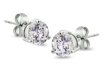 316L Stainless Steel 2.5mm, 4mm, 5mm, 6mm Prong Round CZ Stud Earrings