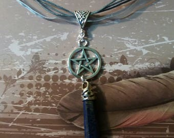 Pagan wiccan pentacle and drop lapis lazuli, jewlery, jewlery, natural stone, pagan witch, wiccan Pentagram necklace, necklace,