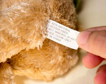 Custom soft toy labels, soft toy safety labels, printing logo soft toy labels