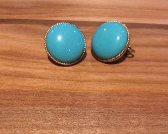 Turquoise-Coloured Button Clip On Earrings