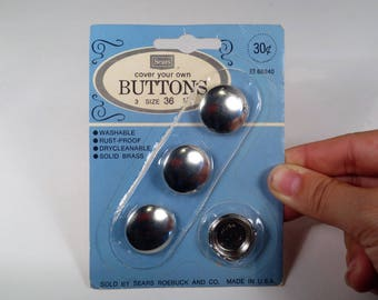"""Sears Roebuck and Co. """"Cover Your Own Buttons"""" 3 x Size 36, Washable, Rust Proof, Drycleanable, Solid Brass, Made in U.S.A."""