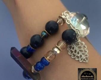 Beaded wrap bracelet, boho wrap bracelet, navy blue bracelet, blue beaded bracelet, gemstone bracelet, quartz bracelet, dark blue bracelet
