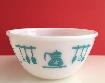 Vintage Hazel Atlas Turquoise Utensils Mixing Bowl