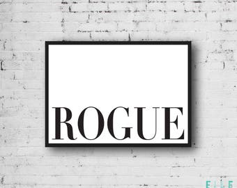 Rogue // A4 // A5 // Typographic Print // Monochrome // Home Decor // Modern // Black And White // Wall Art // Poster