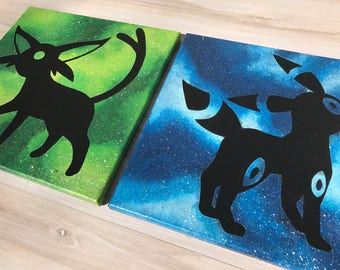 """""""Shinies Umbreon and Espeon"""" - Painted Canvases Inspired by Pokemon - Set of Two"""
